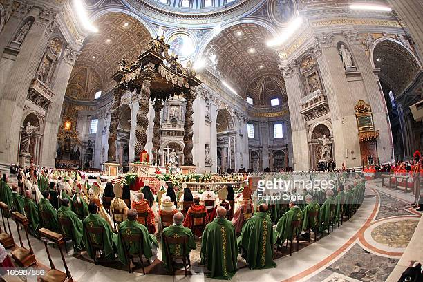 Pope Benedict XVI celebrates a mass in St Peter's Basilica for the closing of the special assembly for the Middle East of the Synod of Bishops on...