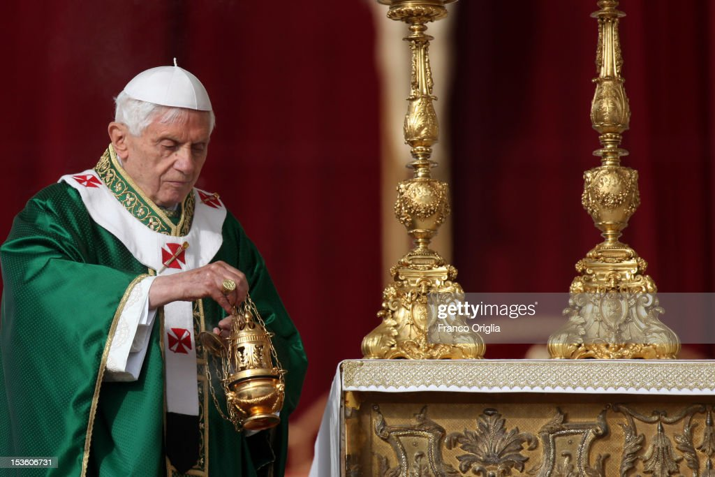 Pope Benedict XVI celebrates a mass in St. Peter's Square for the opening of the Synod of Bishops and proclamation of Spanish St John of Avila and German St Hildegard of Bingen as 'Doctors of the Church' on October 7, 2012 in Vatican City, Vatican.