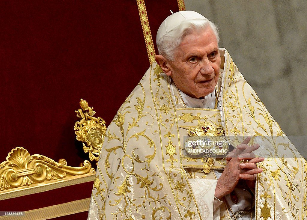 Pope Benedict XVI celebrates the Vespers and Te Deum prayers in Saint Peter's Basilica the mark the end of 2012 at the Vatican on December 31, 2012.