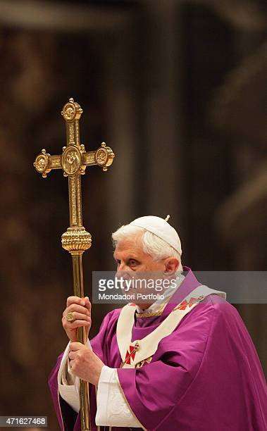'Pope Benedict XVI celebrating the Holy Mass in memory of the Pope John Paul II four years after his death Vatican City 2nd April 2009 '