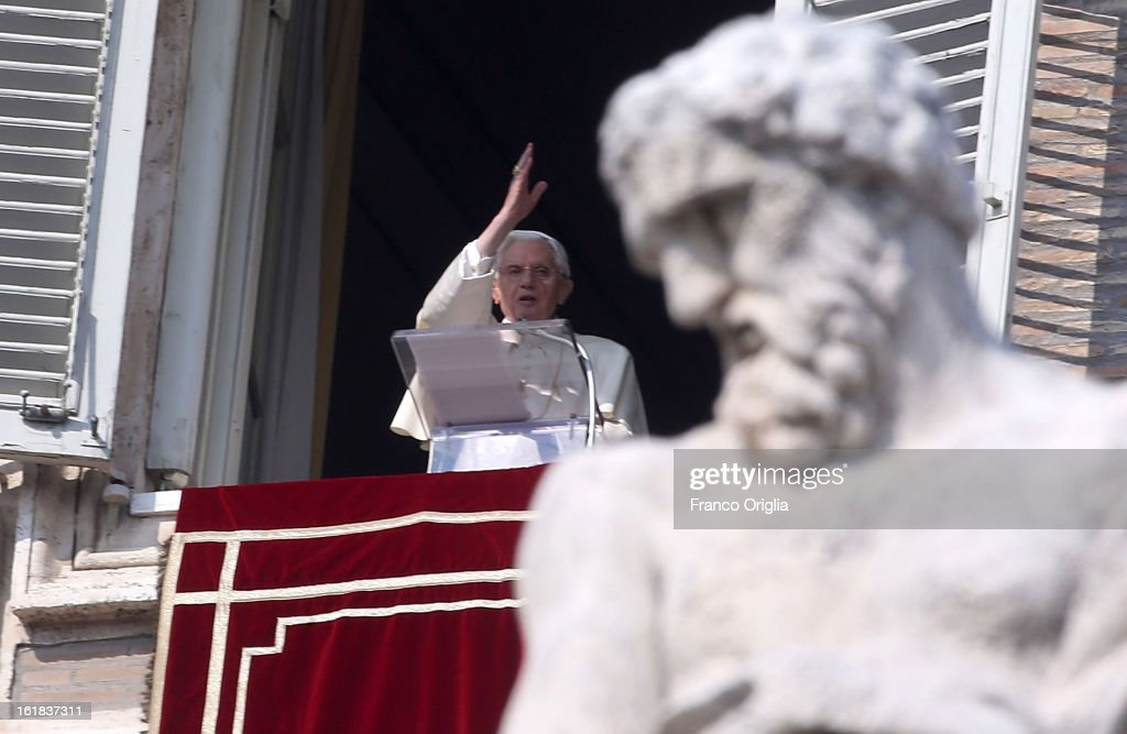 <a gi-track='captionPersonalityLinkClicked' href=/galleries/search?phrase=Pope+Benedict+XVI&family=editorial&specificpeople=201771 ng-click='$event.stopPropagation()'>Pope Benedict XVI</a> delivers his Angelus Blessing from the window of his private studio overlooking St. Peter's Square on February 17, 2013 in Vatican City, Vatican. The Pontiff will hold his last weekly public audience on February 27 at St Peter's Square after announcing his resignation last week.