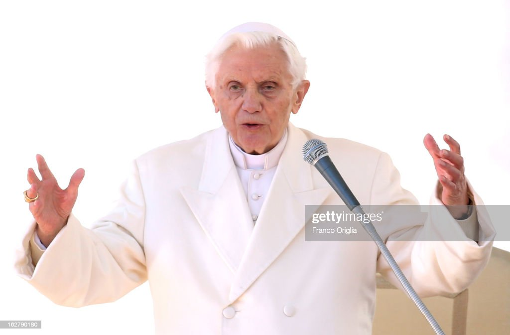 <a gi-track='captionPersonalityLinkClicked' href=/galleries/search?phrase=Pope+Benedict+XVI&family=editorial&specificpeople=201771 ng-click='$event.stopPropagation()'>Pope Benedict XVI</a> delivers his blessing during his final general audience in St Peter's Square, on February 27, 2013 in Vatican City, Vatican. The Pontiff attended his last weekly public audience before stepping down tomorrow. <a gi-track='captionPersonalityLinkClicked' href=/galleries/search?phrase=Pope+Benedict+XVI&family=editorial&specificpeople=201771 ng-click='$event.stopPropagation()'>Pope Benedict XVI</a> has been the leader of the Catholic Church for eight years and is the first Pope to retire since 1415. He cites ailing health as his reason for retirement and will spend the rest of his life in solitude away from public engagements.