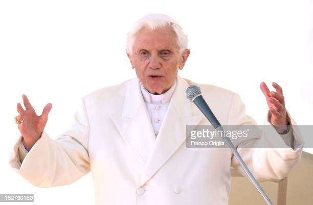 Pope Benedict XVI delivers his blessing during his final general audience in St Peter's Square on February 27 2013 in Vatican City Vatican The...