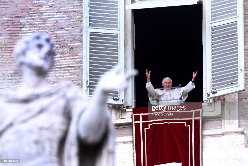 <a gi-track='captionPersonalityLinkClicked' href=/galleries/search?phrase=Pope+Benedict+XVI&family=editorial&specificpeople=201771 ng-click='$event.stopPropagation()'>Pope Benedict XVI</a> delivers his last Angelus Blessing from the window of his private apartment to thousands of pilgrims gathered in Saint Peter's Square on February 24, 2013 in Vatican City, Vatican. The Pontiff will hold his last weekly public audience on February 27, 2013 before he retires the following day. <a gi-track='captionPersonalityLinkClicked' href=/galleries/search?phrase=Pope+Benedict+XVI&family=editorial&specificpeople=201771 ng-click='$event.stopPropagation()'>Pope Benedict XVI</a> has been the leader of the Catholic Church for eight years and is the first Pope to retire since 1415. He cites ailing health as his reason for retirement and will spend the rest of his life in solitude away from public engagements.