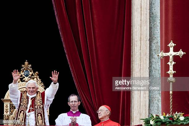 Pope Benedict XVI delivers the 'Urbi et Orbi' message from the center Loggia of St Peter's Basilica at the Vatican Questions regarding the...
