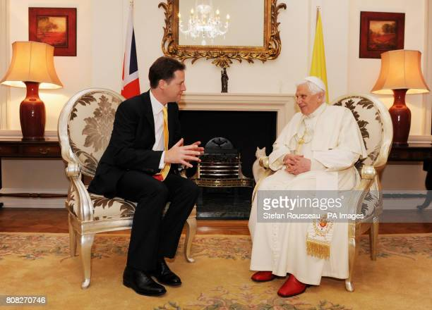 Pope Benedict XVI during a meeting with Deputy Prime Minister Nick Clegg at Archbishop's House near Westminster Cathedral in central London on the...
