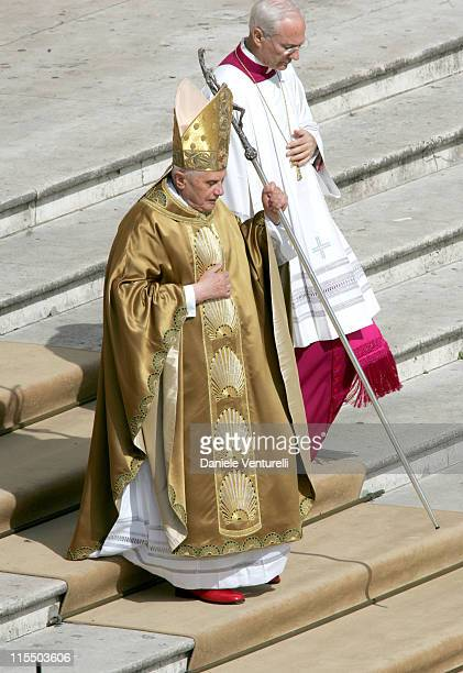 Pope Benedict XVI during Pope Benedict XVI Holds First Mass in Saint Peter's Square at Saint Peter's Square in Vatican City Vatican