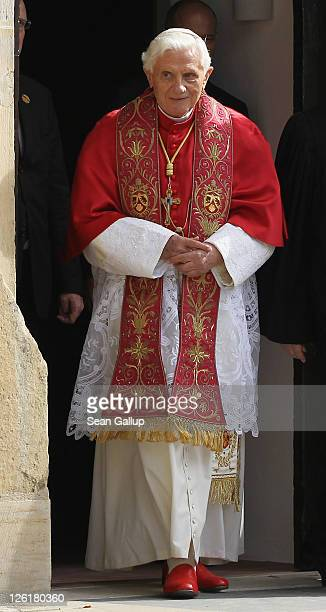 Pope Benedict XVI emerges in order to lead an ecumenical devotion at Augustinerkloster abbey on September 23 2011 in Erfurt Germany The Pope is in...