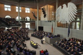 Pope Benedict XVI gives a historic speech at the Bundestag on September 22 2011 in Berlin Germany This was the first occasion ever that a Pope has...