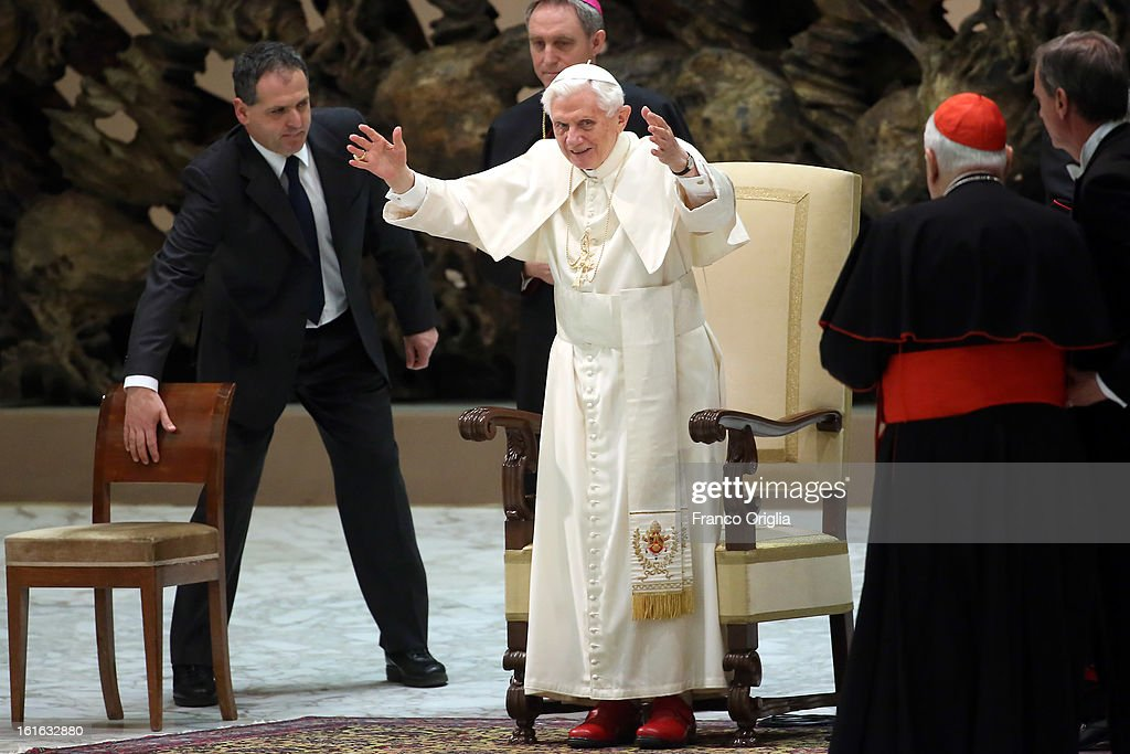 <a gi-track='captionPersonalityLinkClicked' href=/galleries/search?phrase=Pope+Benedict+XVI&family=editorial&specificpeople=201771 ng-click='$event.stopPropagation()'>Pope Benedict XVI</a> gives his weekly audience at the Paul VI Hall on February 13, 2013 in Vatican City, Vatican. The Pontiff will hold his last weekly public audience on February 27 at St Peter's Square after announcing his resignation earlier this week.