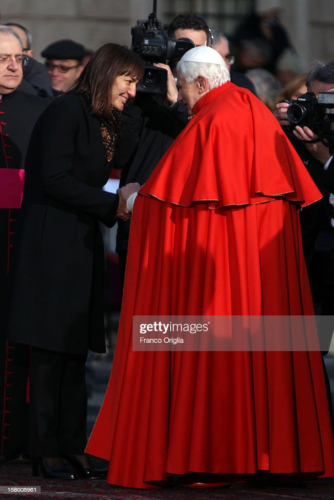 <a gi-track='captionPersonalityLinkClicked' href=/galleries/search?phrase=Pope+Benedict+XVI&family=editorial&specificpeople=201771 ng-click='$event.stopPropagation()'>Pope Benedict XVI</a> greets President of the Lazio Region Renata Polverini at the end of the Immaculate Conception celebration at Spanish Steps on December 8, 2012 in Rome, Italy. This papal tradition marks the beginning of the Christmas season as the Pope visits the monument and crowns the statue of Mary with a garland of flowers.