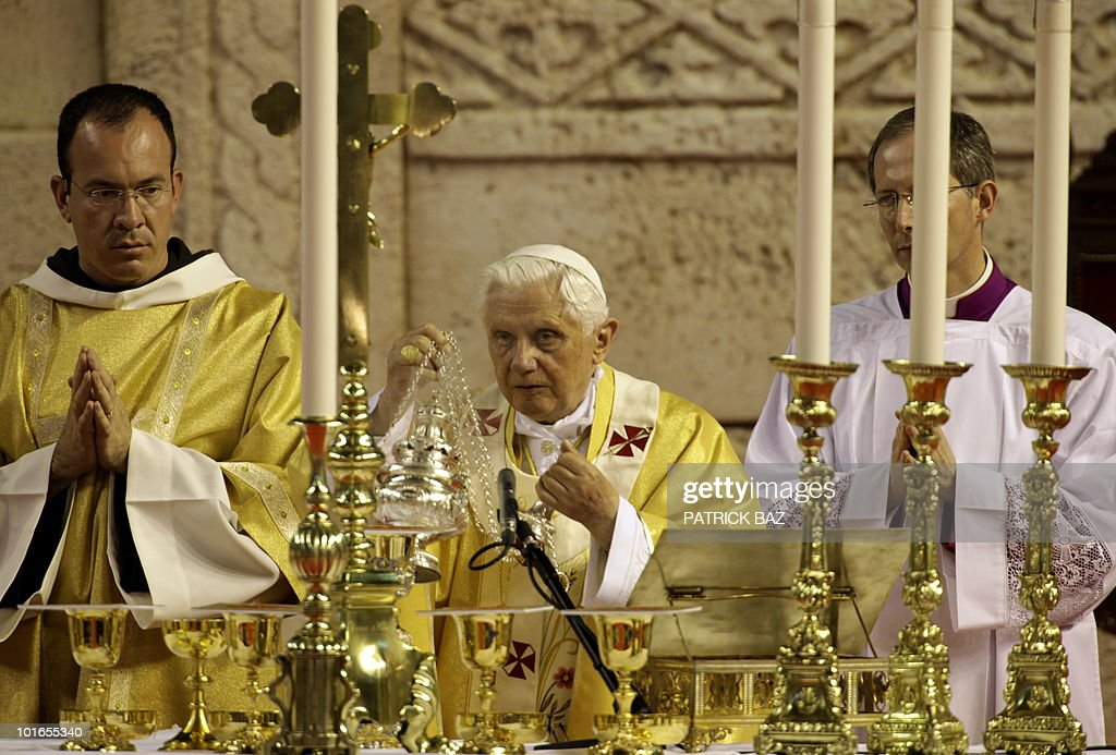 Pope Benedict XVI holds a mass at the El