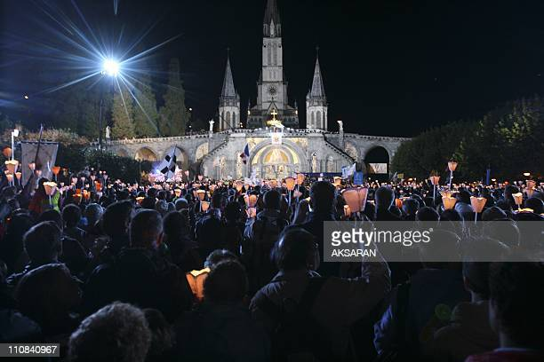 Pope Benedict Xvi In Lourdes France On September 13 2008 Pope Benedict XVI in Loudres during the Marian Procession of Light at the Rosary Basilica in...