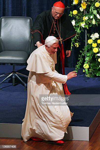 Pope Benedict XVI is seen at the Konzerthaus Freiburg on September 25 2011 in Freiburg im Breisgau Germany The Pope is winding up a fourday visit to...