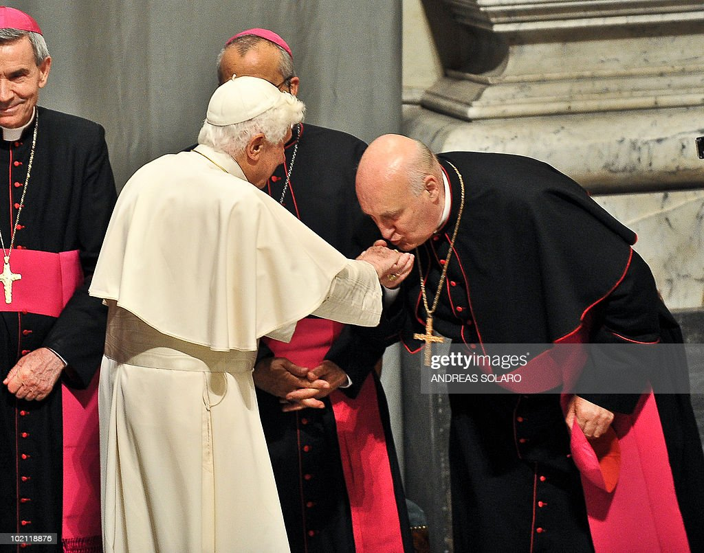 Pope Benedict XVI is welcomed by a bishop gathered in Basilica San Giovanni in Laterano as he arrives for the opening of Roman diocesan convention on June 15, 2010 in Rome.