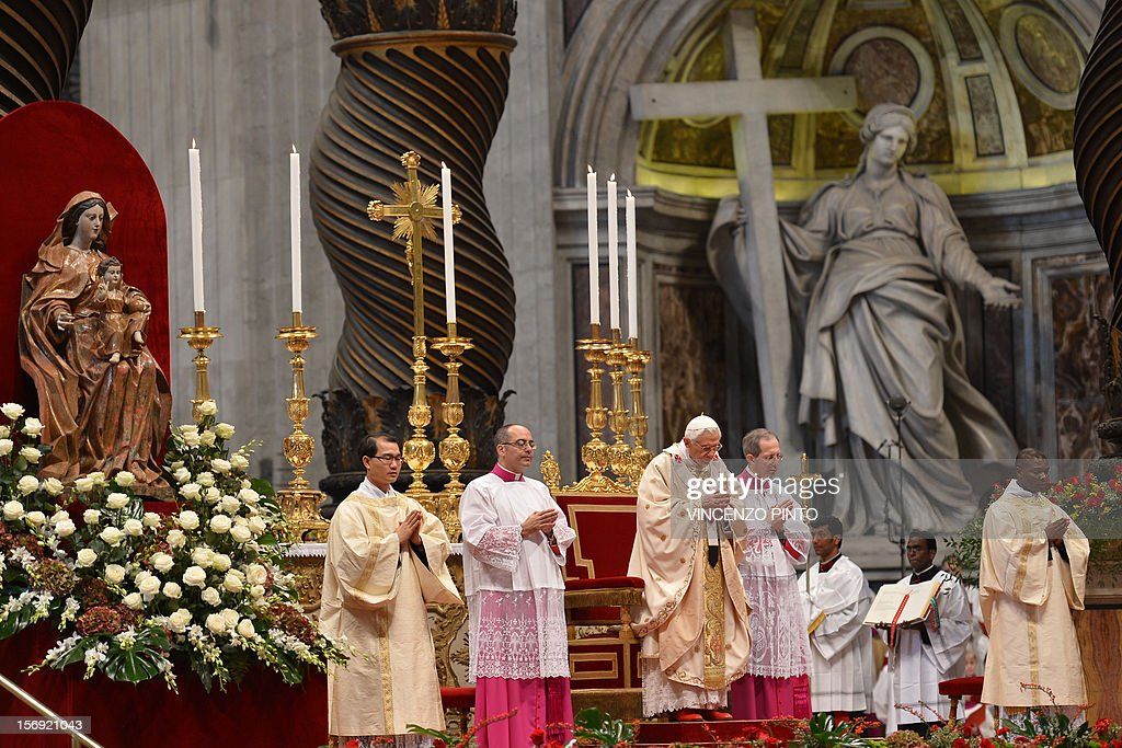 Pope Benedict XVI (C) leads a Holy mass with the new cardinals on November 25, 2012 at St Peter's basilica at the Vatican. Pope Benedict XVI the day before consecrated six non-European prelates as new members of the College of Cardinals in a development welcomed by critics concerned that the body which will elect the future pope is too Euro-centric.