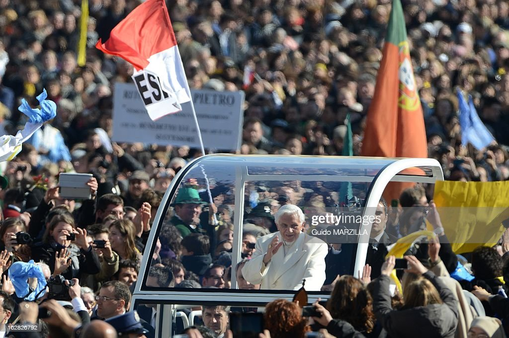 <a gi-track='captionPersonalityLinkClicked' href=/galleries/search?phrase=Pope+Benedict+XVI&family=editorial&specificpeople=201771 ng-click='$event.stopPropagation()'>Pope Benedict XVI</a> leads his final general audience before his retirement in St Peter's Square on February 27, 2013 in Vatican City, Vatican. More than 150,000 people jammed the piazza to bid Benedict farewell.
