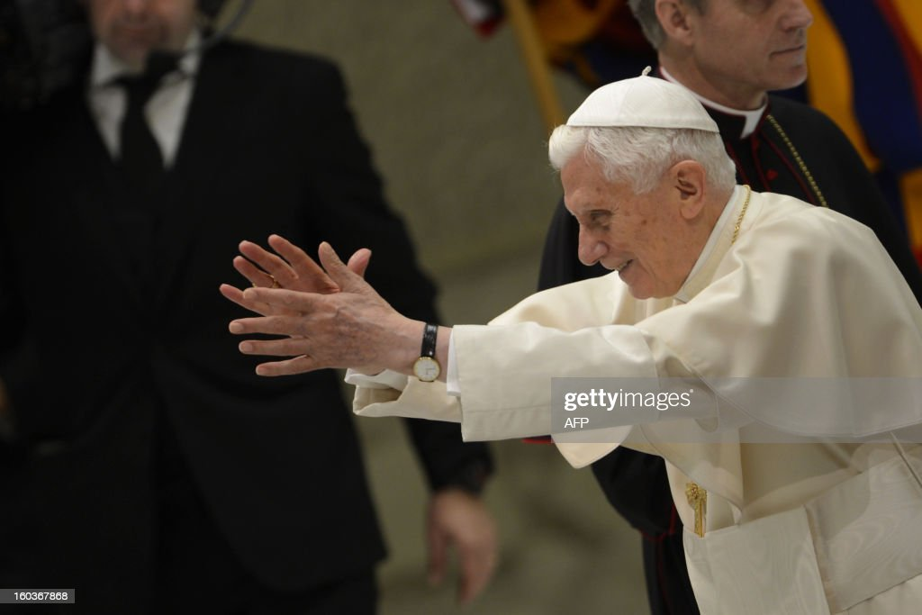Pope Benedict XVI leads his weekly general audience on January 30, 2013 at the Paul VI hall at the Vatican.