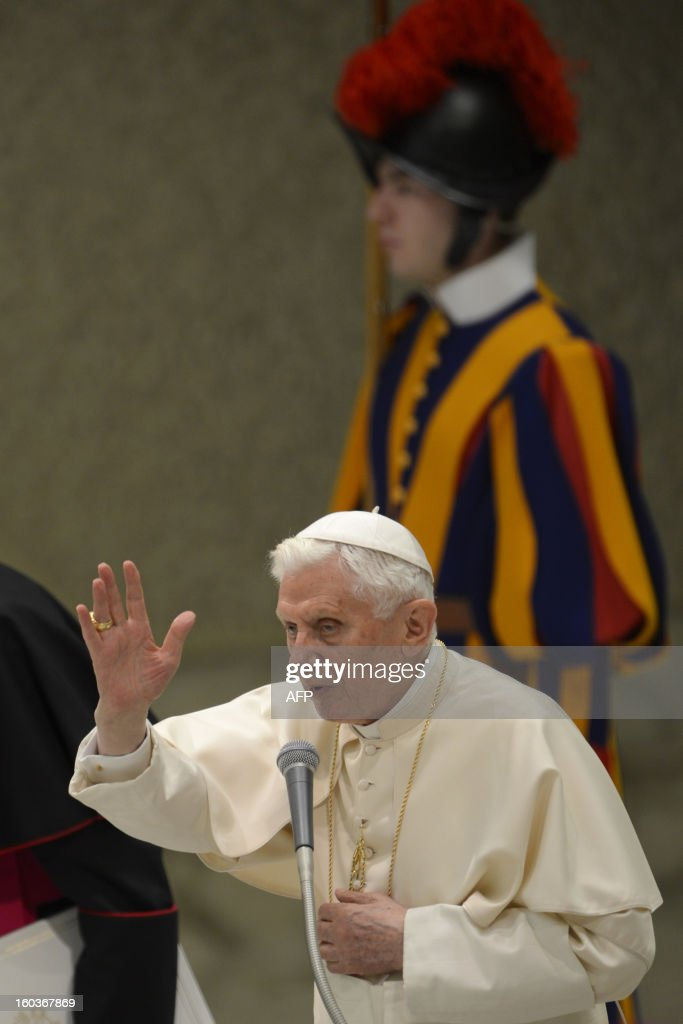 Pope Benedict XVI leads his weekly general audience on January 30, 2013 at the Paul VI hall at the Vatican. AFP PHOTO / ANDREAS SOLARO