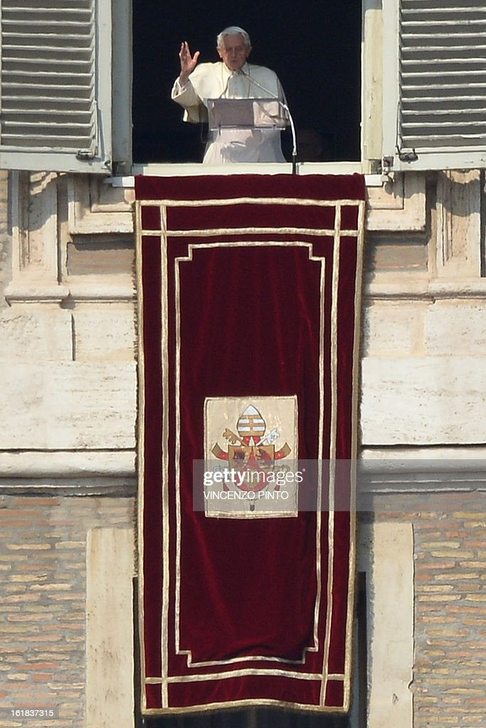 Pope Benedict XVI leads the Angelus prayer from the window of his appartmnents on February 17, 2013 at the Vatican. The Vatican the day before said it could speed up the election of a new pope as lobbying for Benedict XVI's job intensified amid speculation over who had the best chance to succeed him.