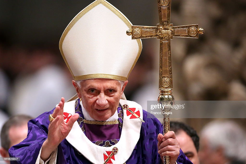Pope Benedict XVI leads the Ash Wednesday service at the St Peter's Basilica on February 13 2013 in Vatican City Vatican Ash Wednesday opens the...