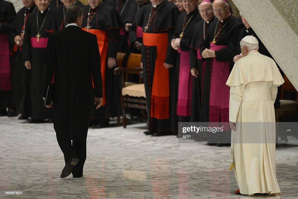 Pope Benedict XVI leaves at the end of his weekly general audience on January 30, 2013 at the Paul VI hall at the Vatican.