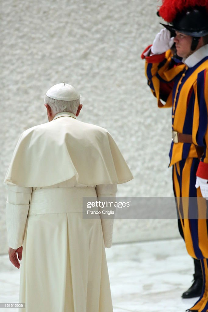 <a gi-track='captionPersonalityLinkClicked' href=/galleries/search?phrase=Pope+Benedict+XVI&family=editorial&specificpeople=201771 ng-click='$event.stopPropagation()'>Pope Benedict XVI</a> leaves Paul VI Hall after his weekly audience on February 13, 2013 in Vatican City, Vatican. The Pontiff will hold his last weekly public audience on February 27 at St Peter's Square after announcing his resignation earlier this week.