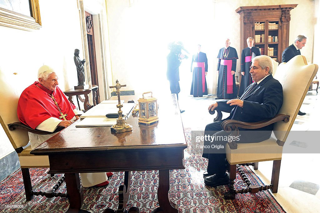 <a gi-track='captionPersonalityLinkClicked' href=/galleries/search?phrase=Pope+Benedict+XVI&family=editorial&specificpeople=201771 ng-click='$event.stopPropagation()'>Pope Benedict XVI</a> (L) meets Cyprus President Demetris Christofias (R) at his private studio on October 25, 2012 in Vatican City, Vatican. The President and his wife are on a one day official visit to the Vatican.
