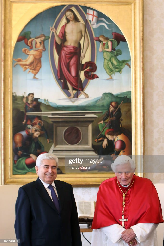 <a gi-track='captionPersonalityLinkClicked' href=/galleries/search?phrase=Pope+Benedict+XVI&family=editorial&specificpeople=201771 ng-click='$event.stopPropagation()'>Pope Benedict XVI</a> (R) meets Cyprus President Demetris Christofias (L) at his private studio on October 25, 2012 in Vatican City, Vatican. The President and his wife are on a one day official visit to the Vatican.