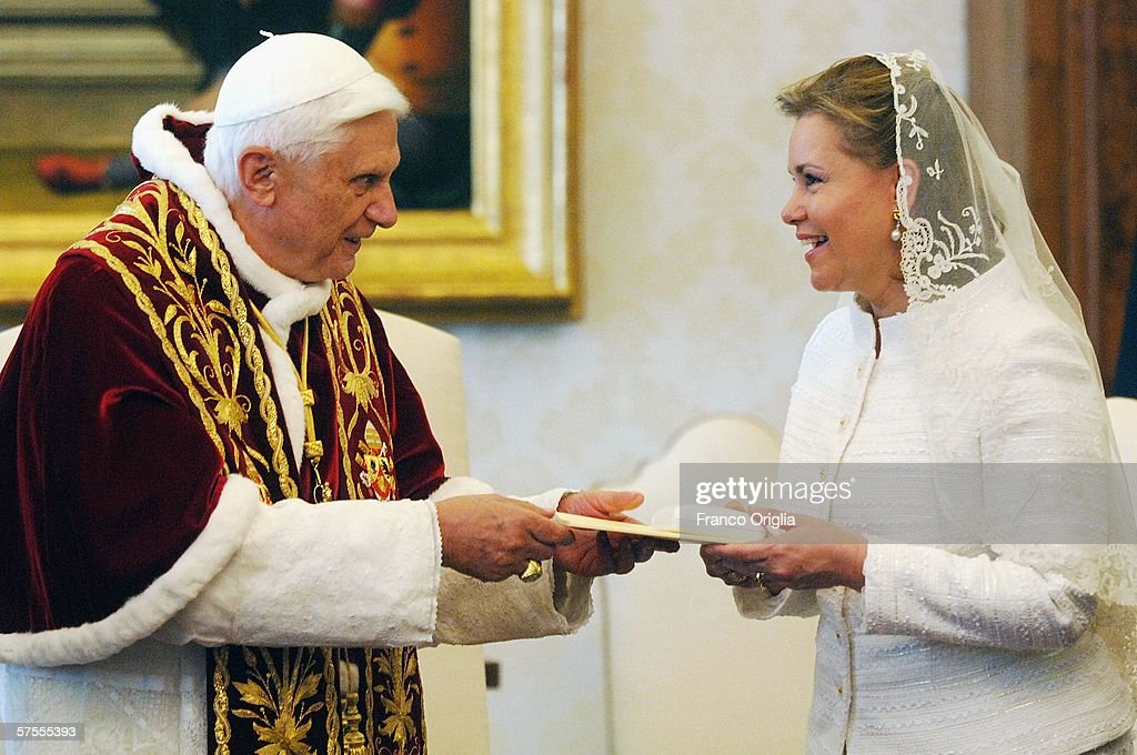 Pope Benedict XVI meets Grand Duchess Maria-Teresa of Luxemburg at his private library, May 8, 2006, in Vatican City.