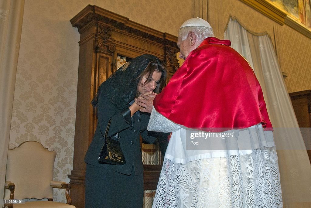 Pope Benedict XVI meets President of Costa Rica Laura Chinchilla at his private library on May 28 2012 in Vatican City Vatican