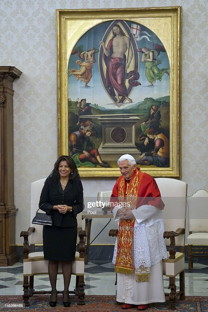 Pope Benedict XVI Meets President Of Costa Rica Laura Chinchilla
