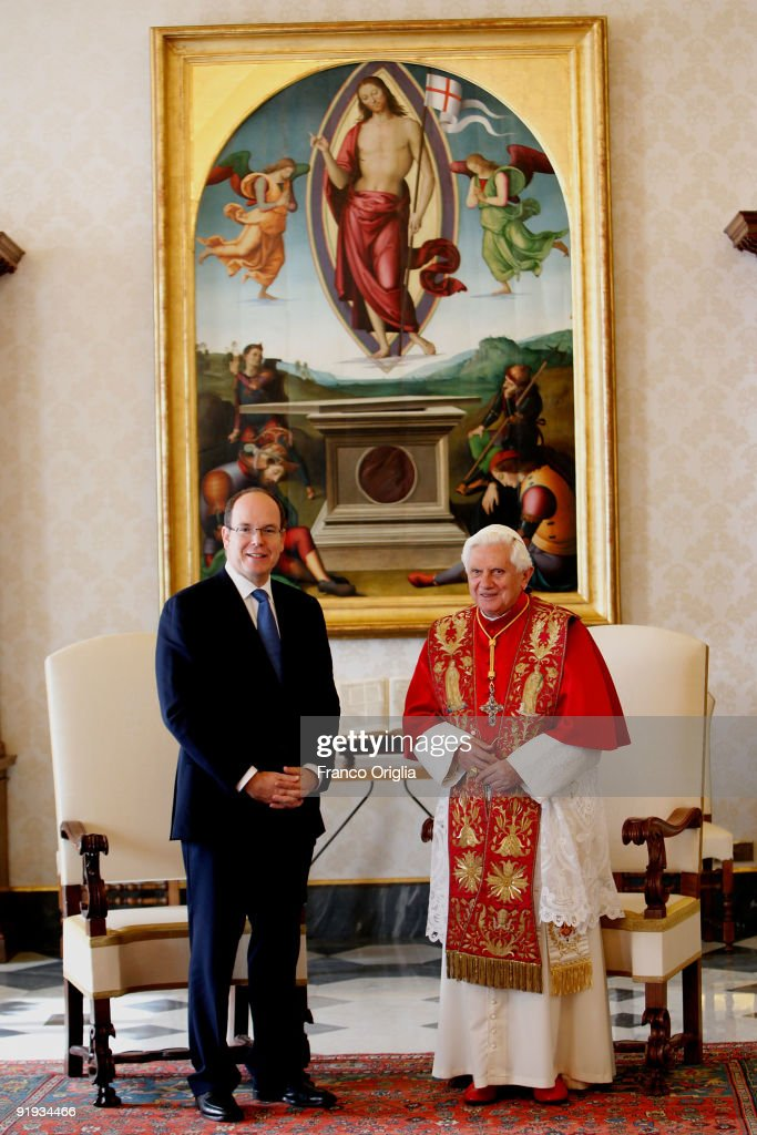 Pope Benedict XVI meets Prince Albert of Monaco at his library on October 16, 2009 in Vatican City, Vatican.