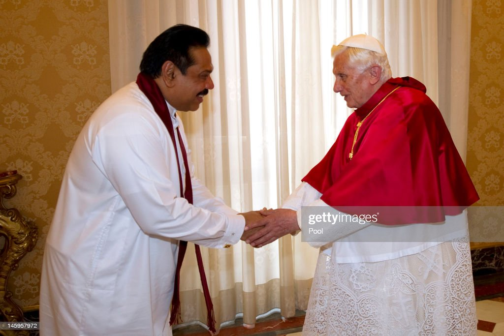 Pope Benedict XVI meets Sri Lankan president <a gi-track='captionPersonalityLinkClicked' href=/galleries/search?phrase=Mahinda+Rajapaksa&family=editorial&specificpeople=588377 ng-click='$event.stopPropagation()'>Mahinda Rajapaksa</a> at his private library on June 8, 2012 in Vatican City, Vatican.