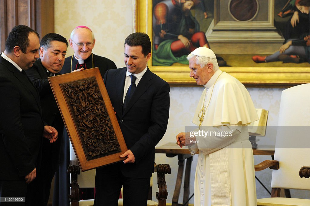 Pope Benedict XVI meets the President of the Republic of Macedonia <a gi-track='captionPersonalityLinkClicked' href=/galleries/search?phrase=Nikola+Gruevski&family=editorial&specificpeople=567539 ng-click='$event.stopPropagation()'>Nikola Gruevski</a> at his private library on May 24, 2012 in Vatican City, Vatican.