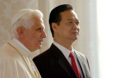 Pope Benedict XVI meets Vietnam's Prime Minister Nguyen Tan Dung during a private audience at the Vatican Communist Vietnam's prime minister become...