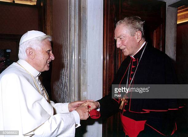 Pope Benedict XVI meets with Cardinal Carlo Maria Martini at his private studio May 27 2005 in Vatican City