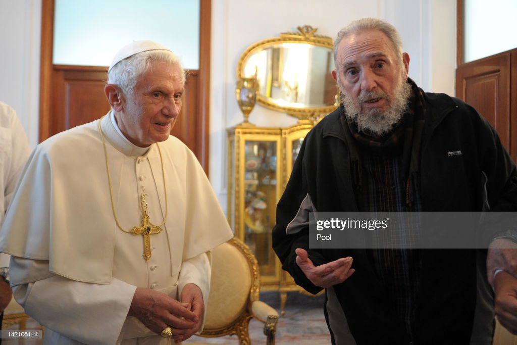 <a gi-track='captionPersonalityLinkClicked' href=/galleries/search?phrase=Pope+Benedict+XVI&family=editorial&specificpeople=201771 ng-click='$event.stopPropagation()'>Pope Benedict XVI</a> meets with former Cuban President <a gi-track='captionPersonalityLinkClicked' href=/galleries/search?phrase=Fidel+Castro&family=editorial&specificpeople=67210 ng-click='$event.stopPropagation()'>Fidel Castro</a> (R) at the Vatican embassy on March 29, 2012 in Havana, Cuba. The Pope is finishing up his first trip to Cuba, fourteen years after Pope John Paul II visited the communist country.