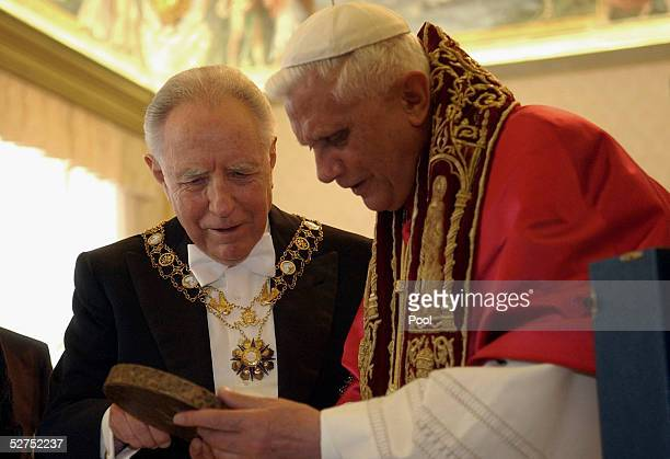 Pope Benedict XVI meets with Italian President Carlo Azeglio Ciampi in the papal library of the Apostolic Palace on May 3 2005 in Vatican City...