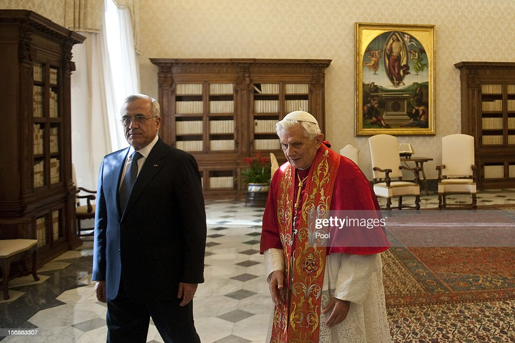 <a gi-track='captionPersonalityLinkClicked' href=/galleries/search?phrase=Pope+Benedict+XVI&family=editorial&specificpeople=201771 ng-click='$event.stopPropagation()'>Pope Benedict XVI</a> meets with Lebanon President <a gi-track='captionPersonalityLinkClicked' href=/galleries/search?phrase=Michel+Sleiman&family=editorial&specificpeople=2069358 ng-click='$event.stopPropagation()'>Michel Sleiman</a> at his private library on November 23, 2012 in Vatican City, Vatican. The meeting comes ahead of the nomination of a new Lebanese cardinal, a move considered by observers as a sign of Vatican support for religious diversity in Lebanon.