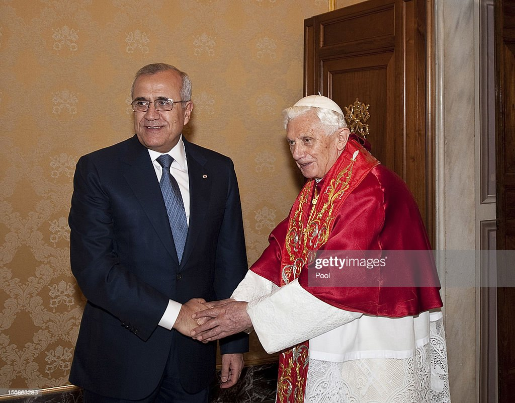 <a gi-track='captionPersonalityLinkClicked' href=/galleries/search?phrase=Pope+Benedict+XVI&family=editorial&specificpeople=201771 ng-click='$event.stopPropagation()'>Pope Benedict XVI</a> meets with Lebanon's President, <a gi-track='captionPersonalityLinkClicked' href=/galleries/search?phrase=Michel+Sleiman&family=editorial&specificpeople=2069358 ng-click='$event.stopPropagation()'>Michel Sleiman</a>, at his private library on November 23, 2012 in Vatican City, Vatican. The meeting comes ahead of the nomination of a new Lebanese cardinal, a move considered by observers as a sign of Vatican support for religious diversity in Lebanon.