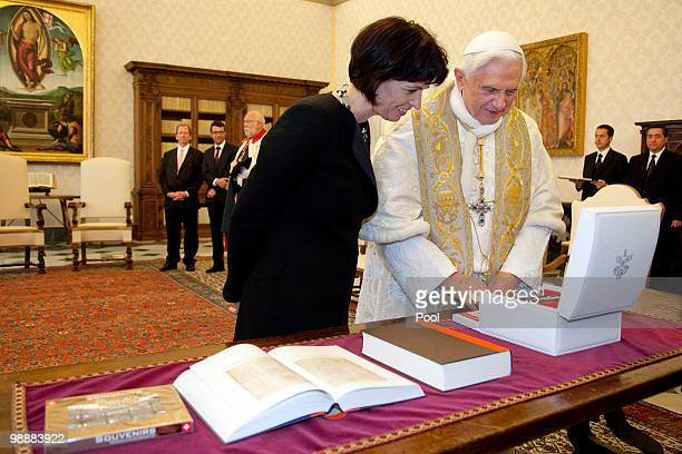 Pope Benedict XVI meets with President of the Helvetic Confederation Doris Leutthard at his library on May 6 2010 in Vatican City Vatican