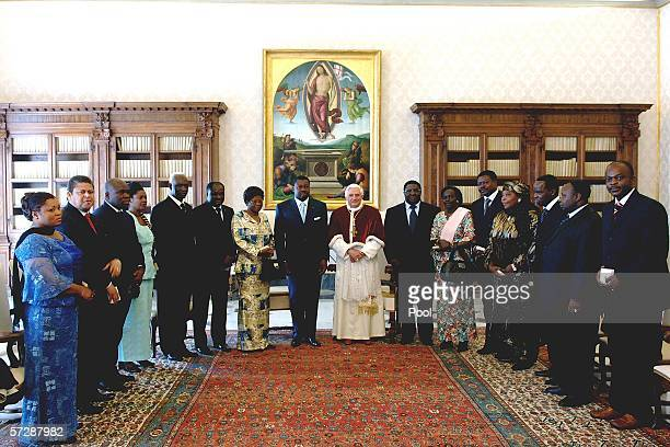 Pope Benedict XVI meets with President of Togo Faure Gnassingbe and his delegation at his private library on April 8 2006 in Vatican City