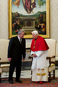 Pope Benedict XVI meets with the German President Joachim Gauck during a private audience in the library of the Apostolic Palace on December 6 2012...