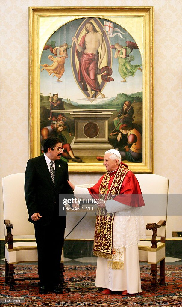 <a gi-track='captionPersonalityLinkClicked' href=/galleries/search?phrase=Pope+Benedict+XVI&family=editorial&specificpeople=201771 ng-click='$event.stopPropagation()'>Pope Benedict XVI</a> met President of Honduras Manuel Zelaya during a private audience in Rome, Vatican City on November 24, 2006.