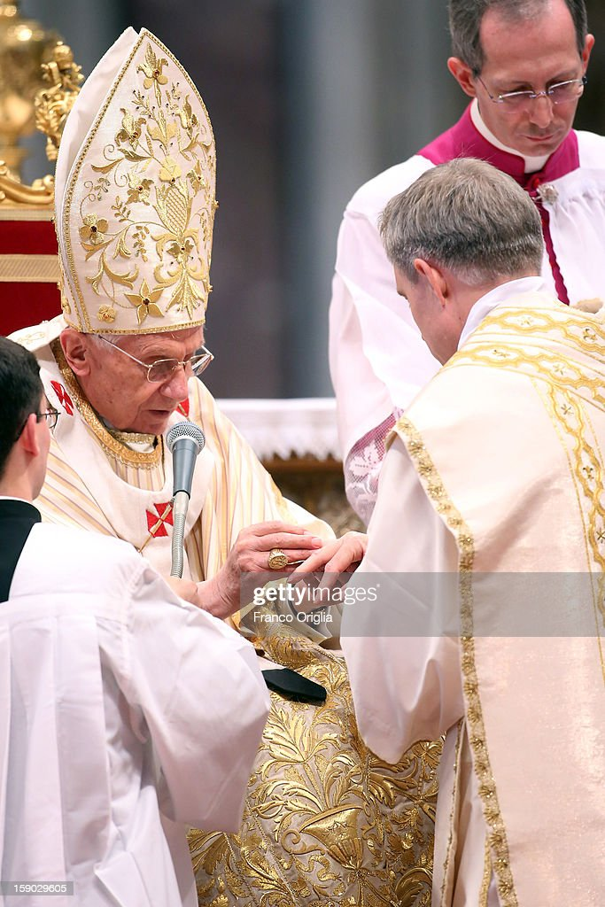 Pope Benedict XVI names his personal secretary Georg Gaenswein as bishop during the Epiphany Mass at the St. Peter's Basilica on January 6, 2013 in Vatican City, Vatican. During the ceremony the pontiff named four new bishops including his personal secretary Georg Gaenswein.