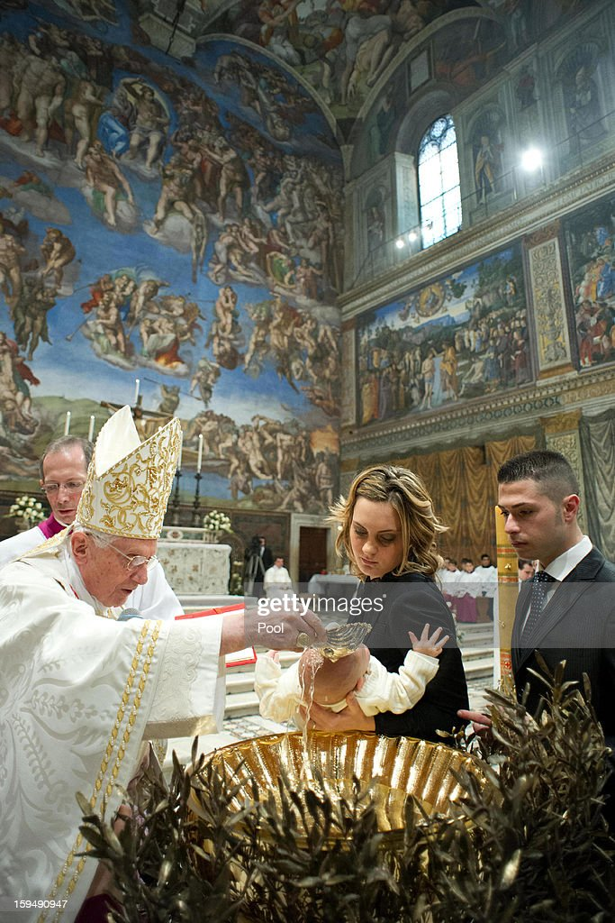 <a gi-track='captionPersonalityLinkClicked' href=/galleries/search?phrase=Pope+Benedict+XVI&family=editorial&specificpeople=201771 ng-click='$event.stopPropagation()'>Pope Benedict XVI</a> (L) performs a baptism in the Sistine Chapel on January 13, 2013 in Vatican City, Vatican. The Vatican reiterated its opposition to same-sex marriage on January 13, after an Italian court ruling it was prejudice to assume a child would have a detrimental upbringing living with a gay couple.