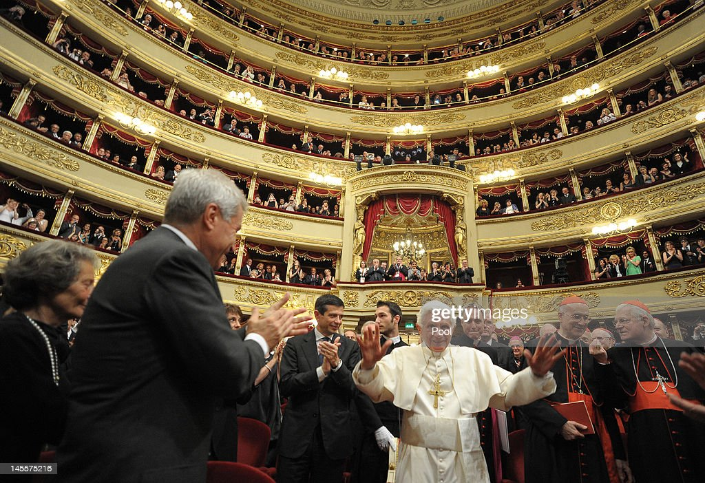 Pope Benedict XVI praises a performance of Beethoven's Ninth symphony during a concert at La Scala Theater on June 1, 2012 in Milan, Italy. Pope Benedict XVI is on a three day trip to Milan to attend various events focusing on the institution of the family. The World meeting of families was instituted by Pope John Paul II in 1994 to promote the value of families.