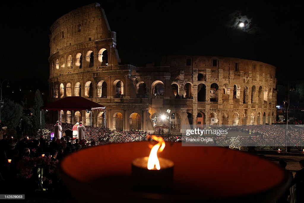 Pope Benedict XVI presides over the Way Of The Cross procession at the Colosseum on Good Friday April 6, 2012 in Rome, Italy. The traditional Catholic procession on Good Friday recalls the crucifixion of Jesus Christ ahead of Sunday's Easter holiday.
