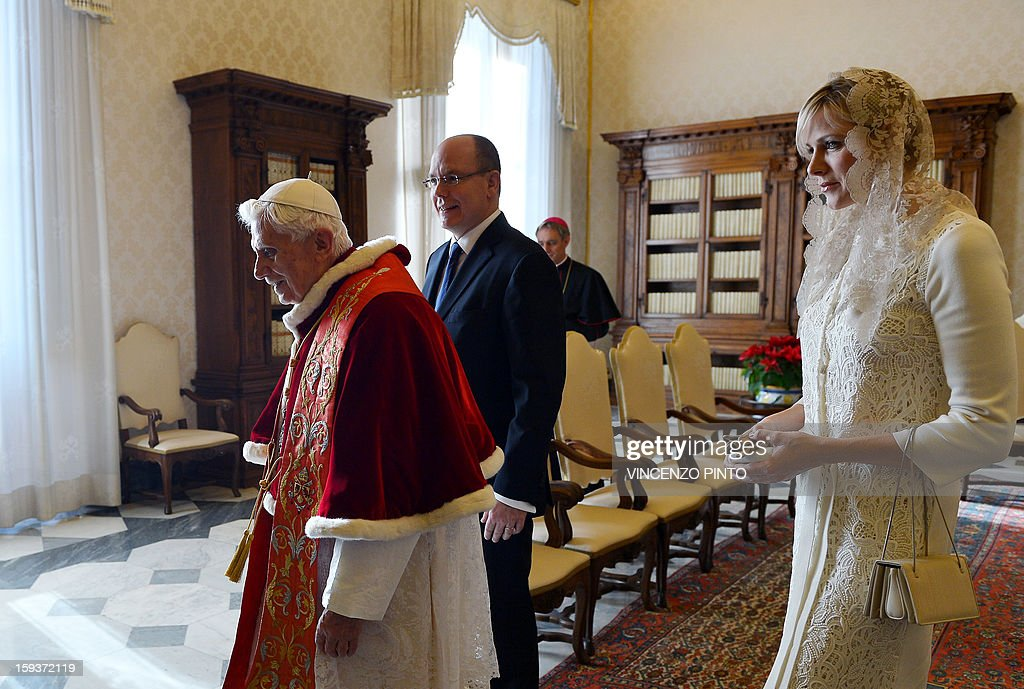 Pope Benedict XVI (L), Prince Albert II of Monaco and his wife Princess Charlene leave on January 12, 2013 after a private audience at Vatican.